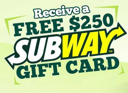 Free Subway Gift Cards